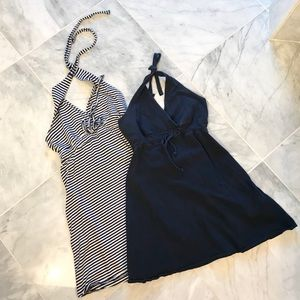 Two halter dresses-Navy & stripped navy